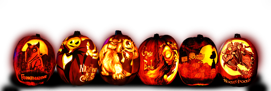 4 Carved Pumpkins